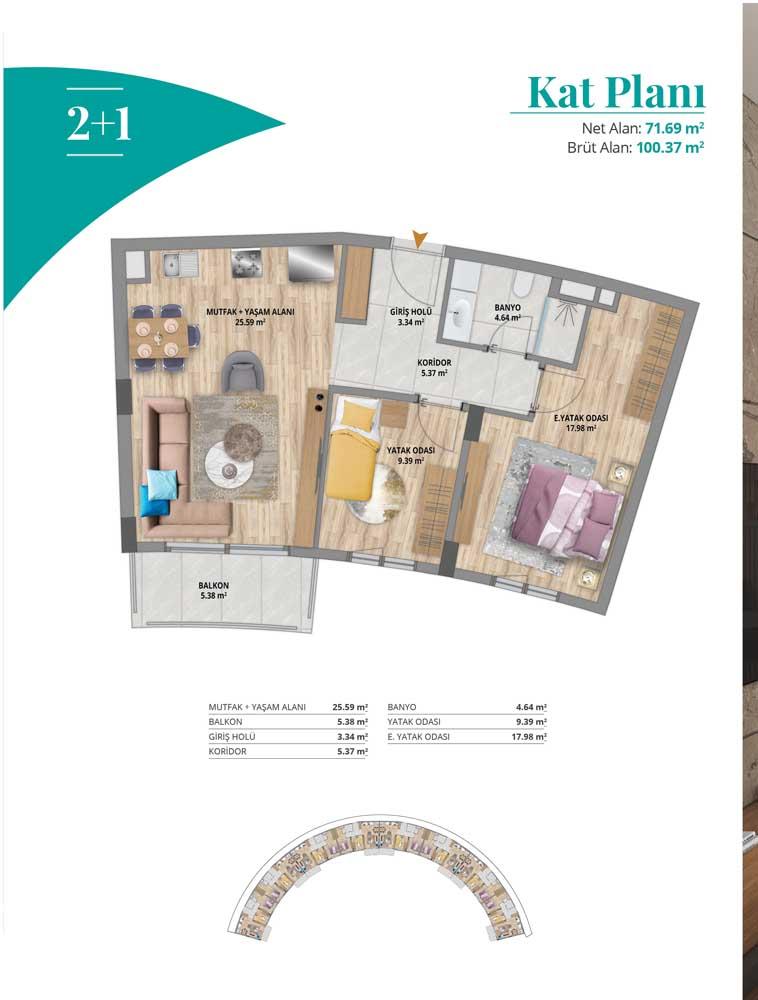 Boutique Panorama  2+1 Kat Planları