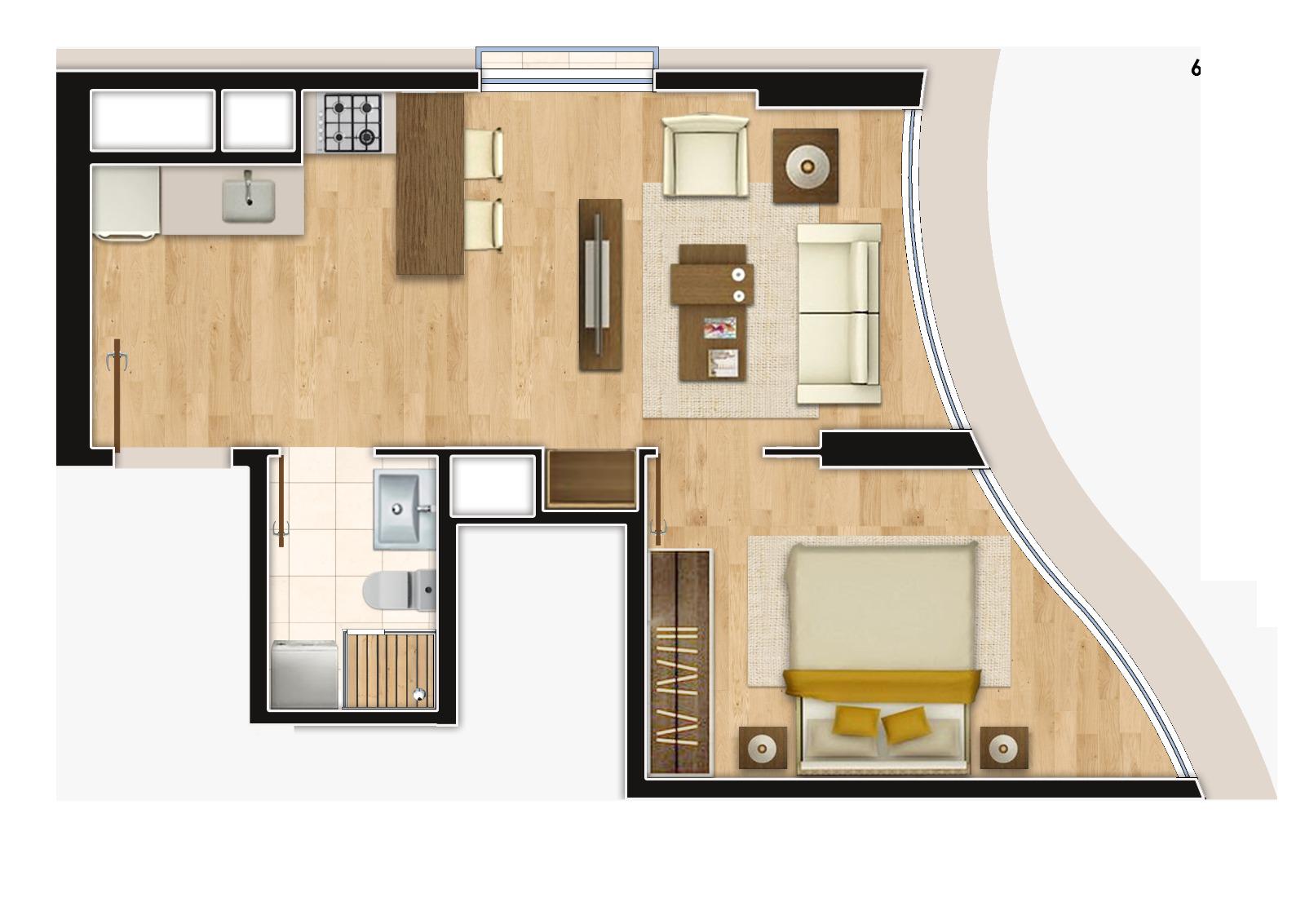 Perola Residence 1+1 Kat Planları