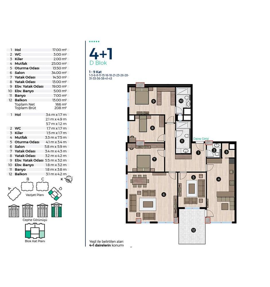 Capella Park 4+1 Kat Planları