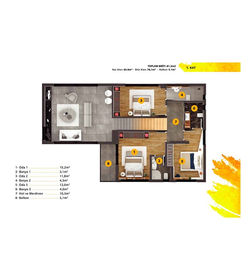 Carmel Inn Ayayorgi 7+1 Kat Planları