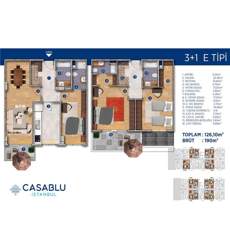 Casablu 3+1 Kat Planları