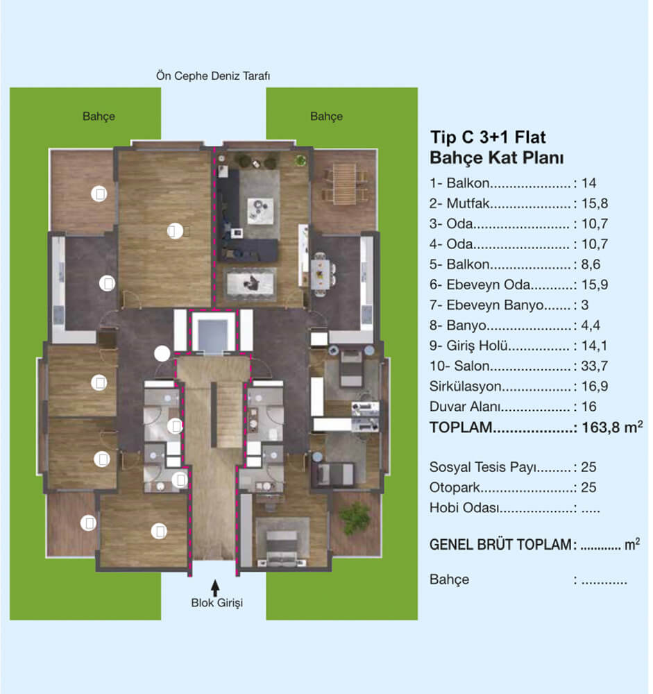Çiçek Evler Mavi Yaka 3+1 Kat Planları