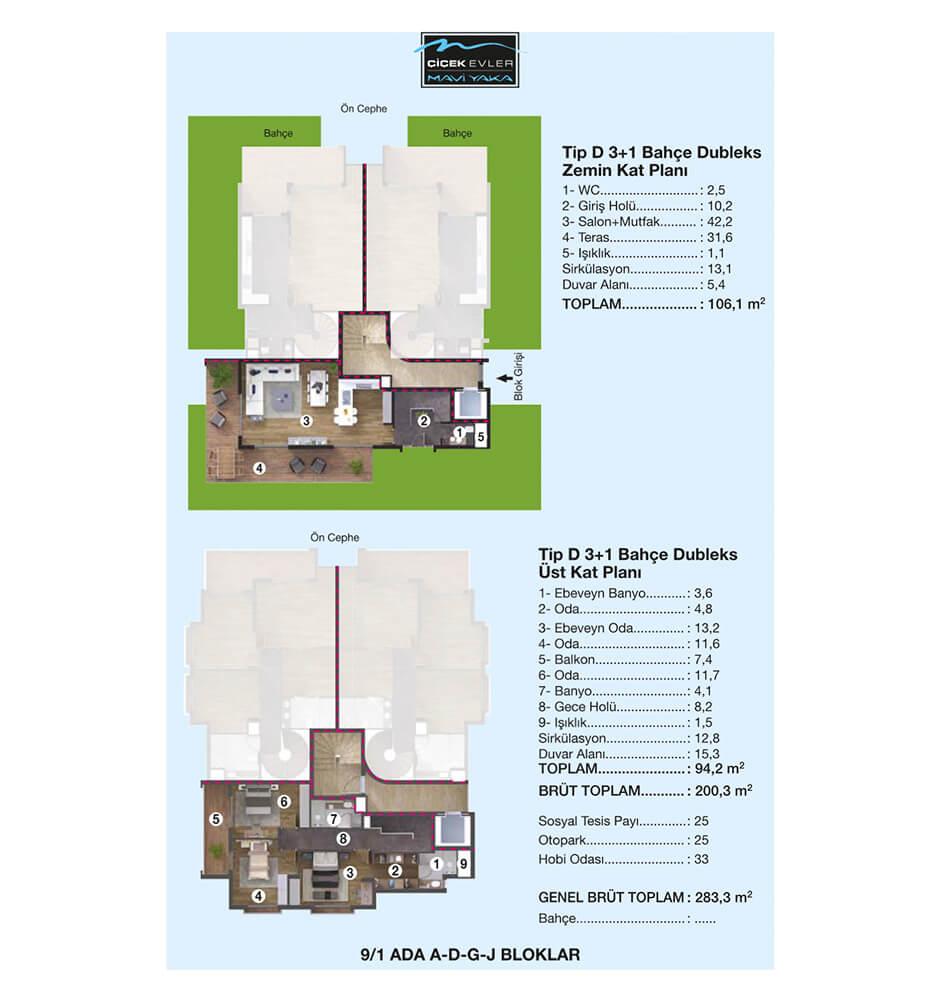 Çiçek Evler Mavi Yaka 3+1 Dublex Kat Planları