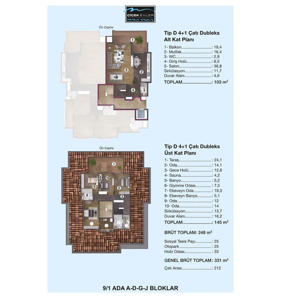 Çiçek Evler Mavi Yaka 4+1 Dublex  Kat Planları