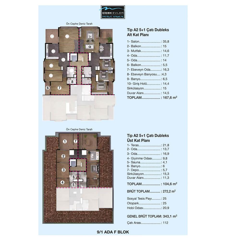 Çiçek Evler Mavi Yaka 5+1 Dublex  Kat Planları