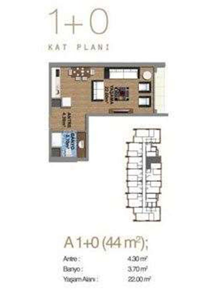 Cornerlife Güneşli  1+0 Kat Planları