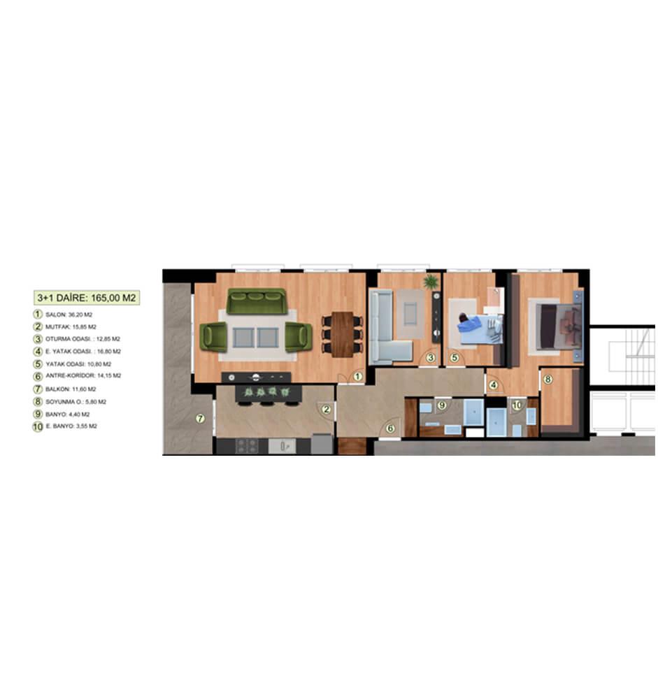 Dora Park Evleri  3+1 Kat Planları