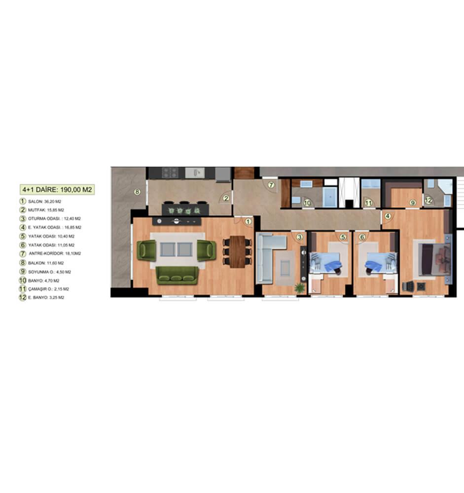 Dora Park Evleri  4+1 Kat Planları