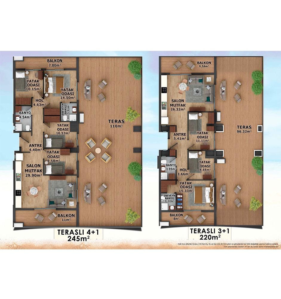 DreamLoft Miami  3+1 Kat Planları