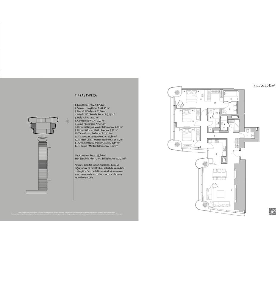 Emaar Square 3+1 Kat Planları
