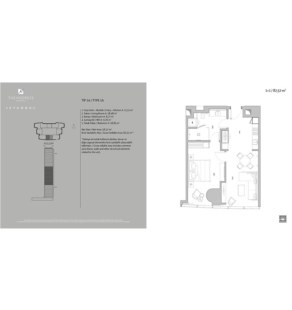 Emaar Square 1+1  Kat Planları