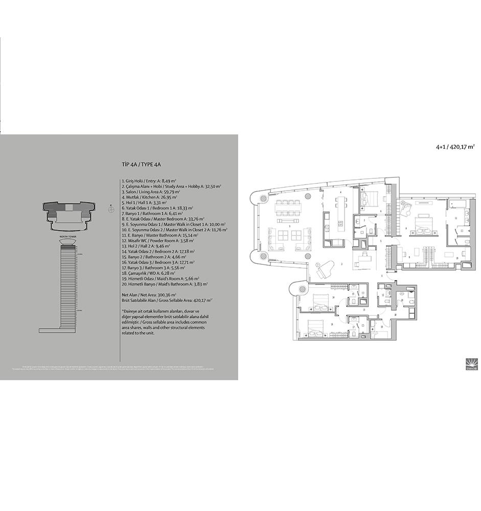 Emaar Square 4+1 Kat Planları