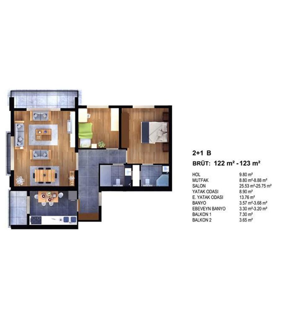 Evim Yüksekdağ 2+1 Kat Planları