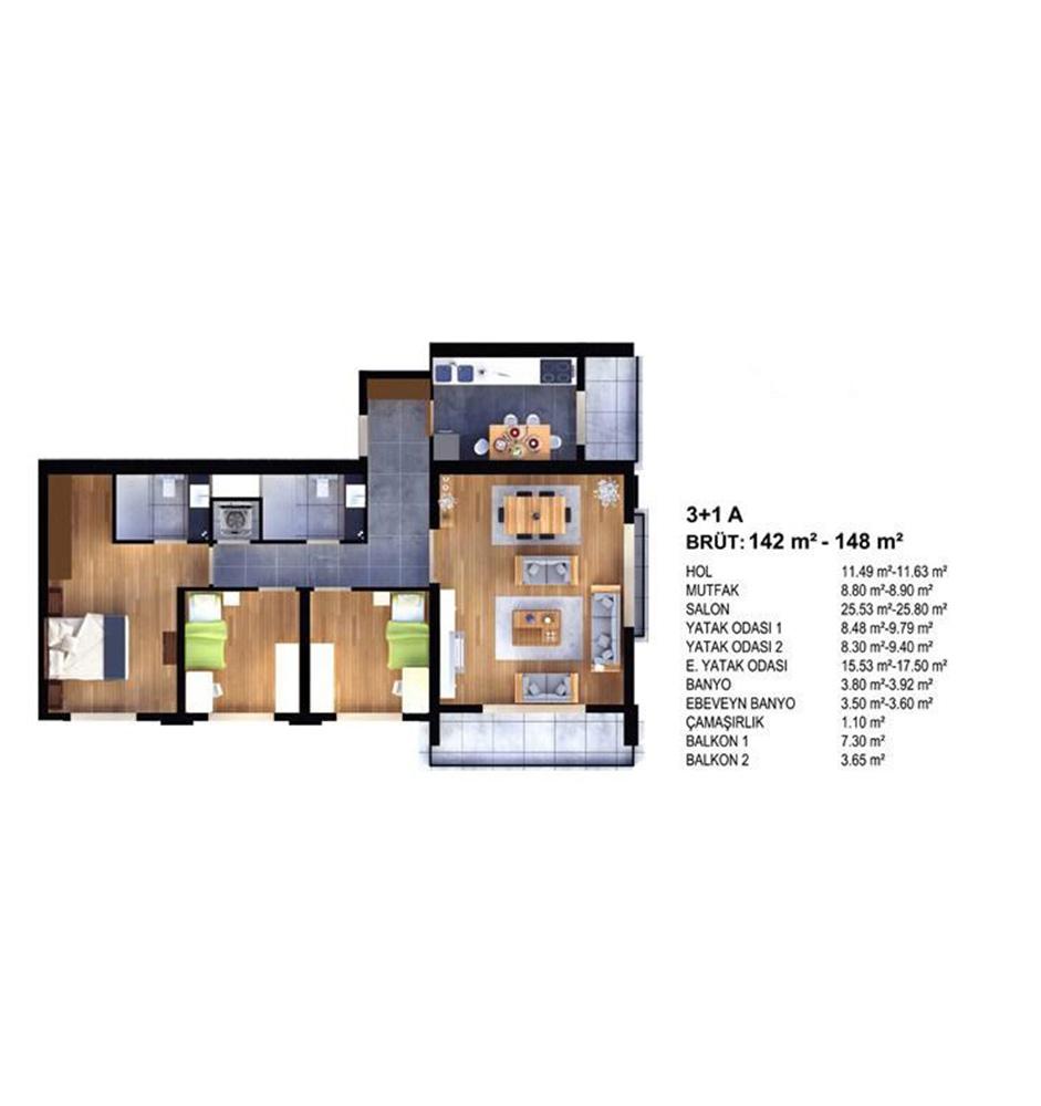 Evim Yüksekdağ 3+1 Kat Planları