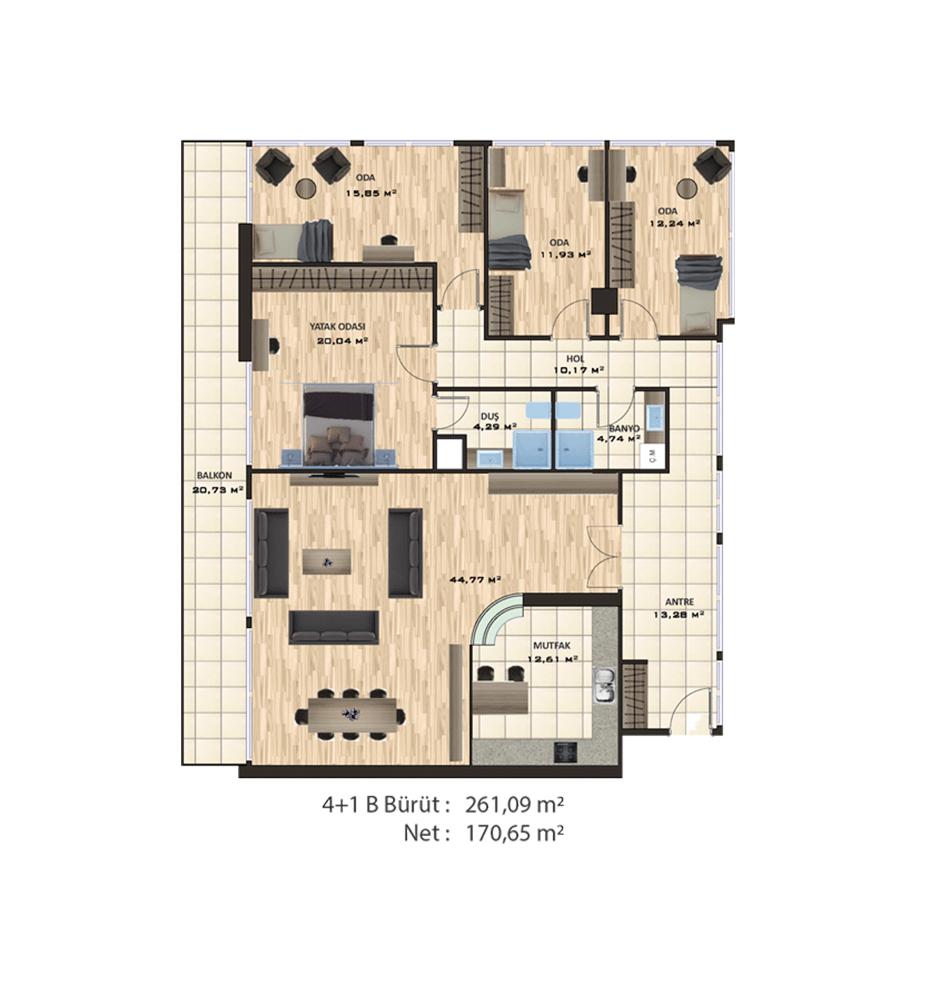 Evinpark Kadıköy 4+1 Kat Planları