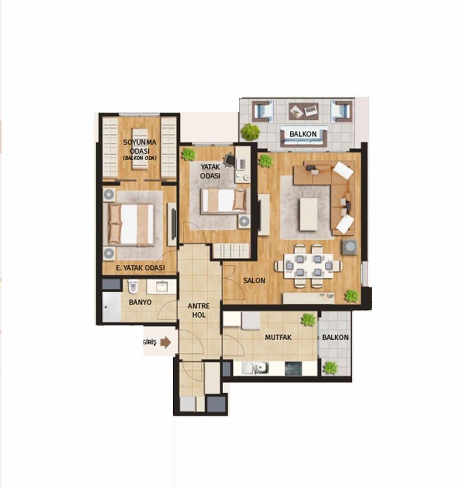 Evora Rezidans 2+1 Kat Planları