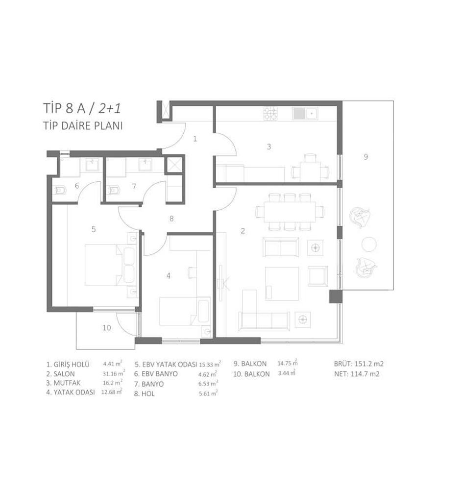 Fenix 84 2+1 Kat Planları