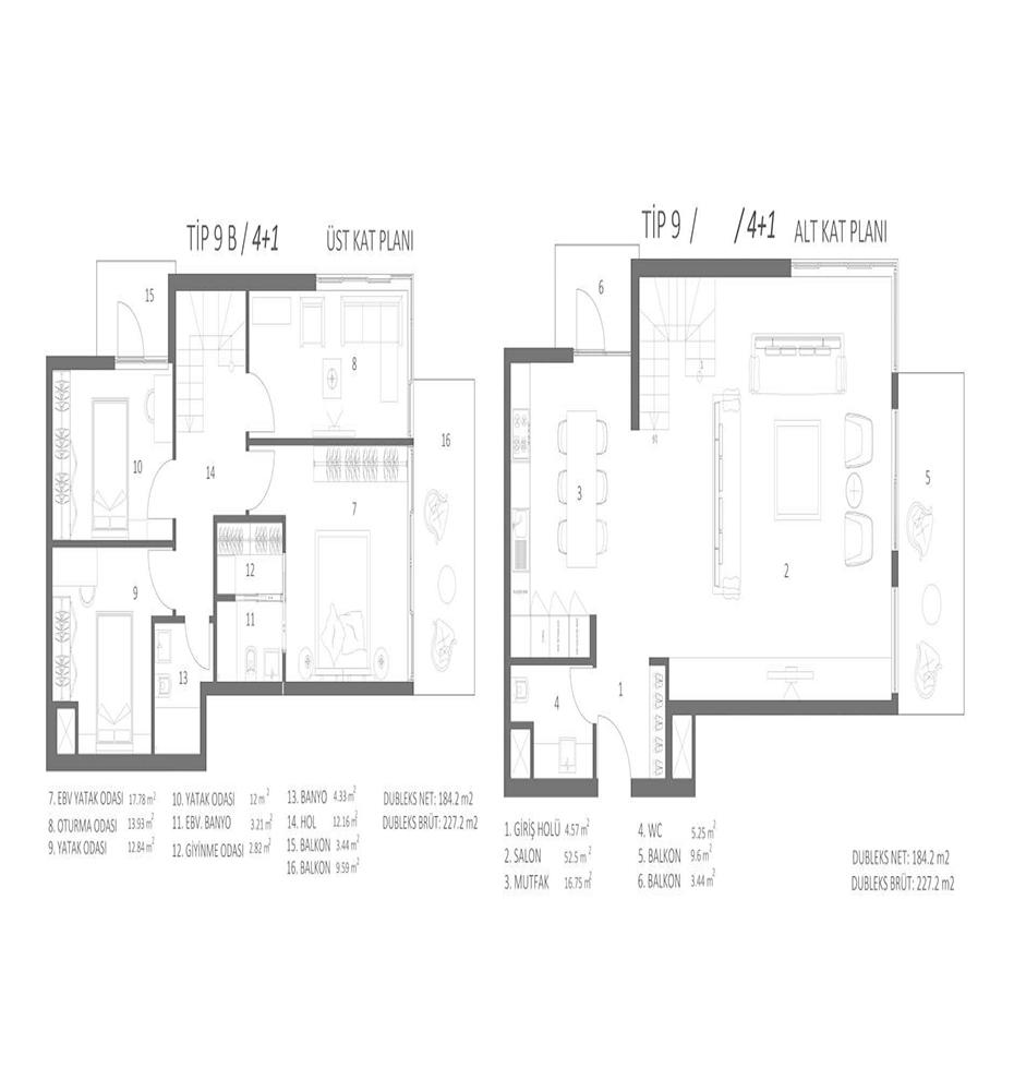 Fenix 84 4+1 Kat Planları