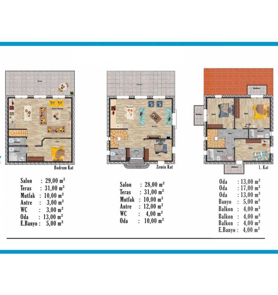 Foça Terrace Evleri 5+2 Triplex Kat Planları
