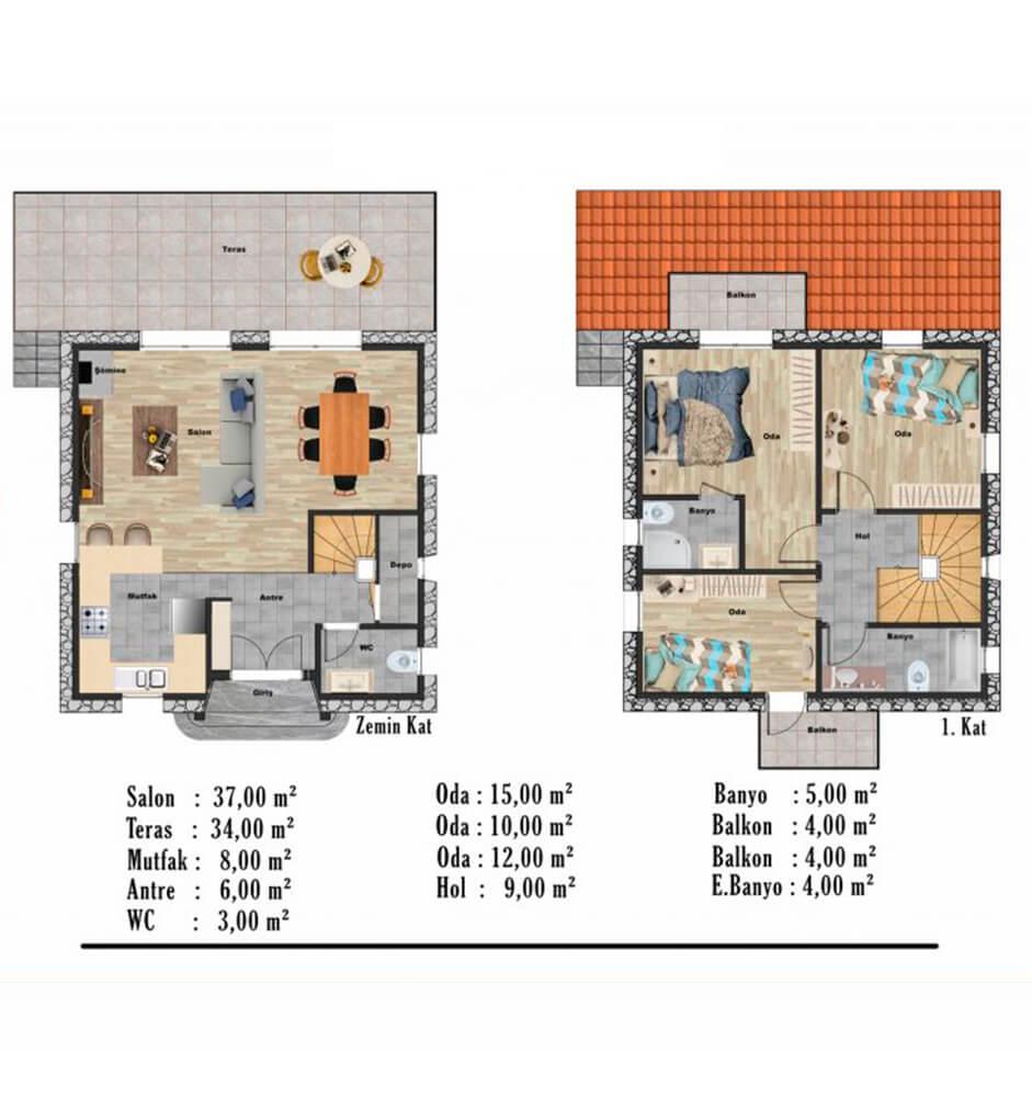 Foça Terrace Evleri 4+1 Dublex  Kat Planları