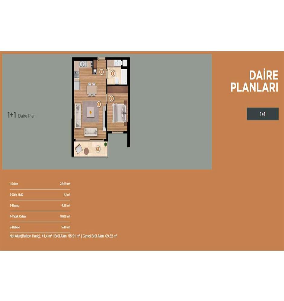 Folkart Yaka Evleri 1+1 Kat Planları