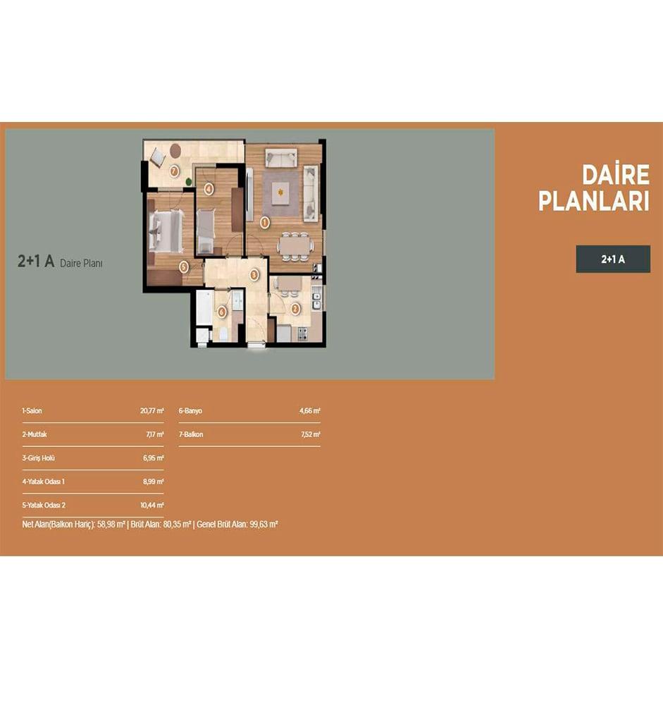 Folkart Yaka Evleri 2+1 Kat Planları