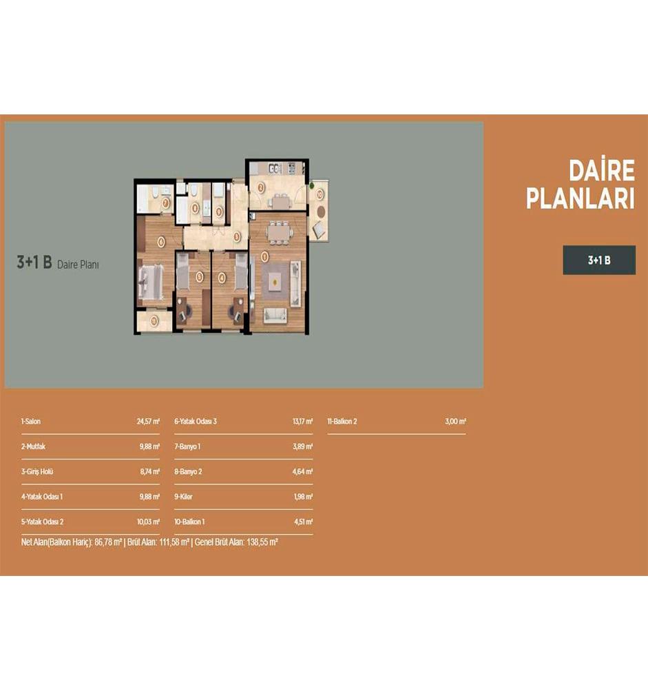 Folkart Yaka Evleri 3+1 Kat Planları