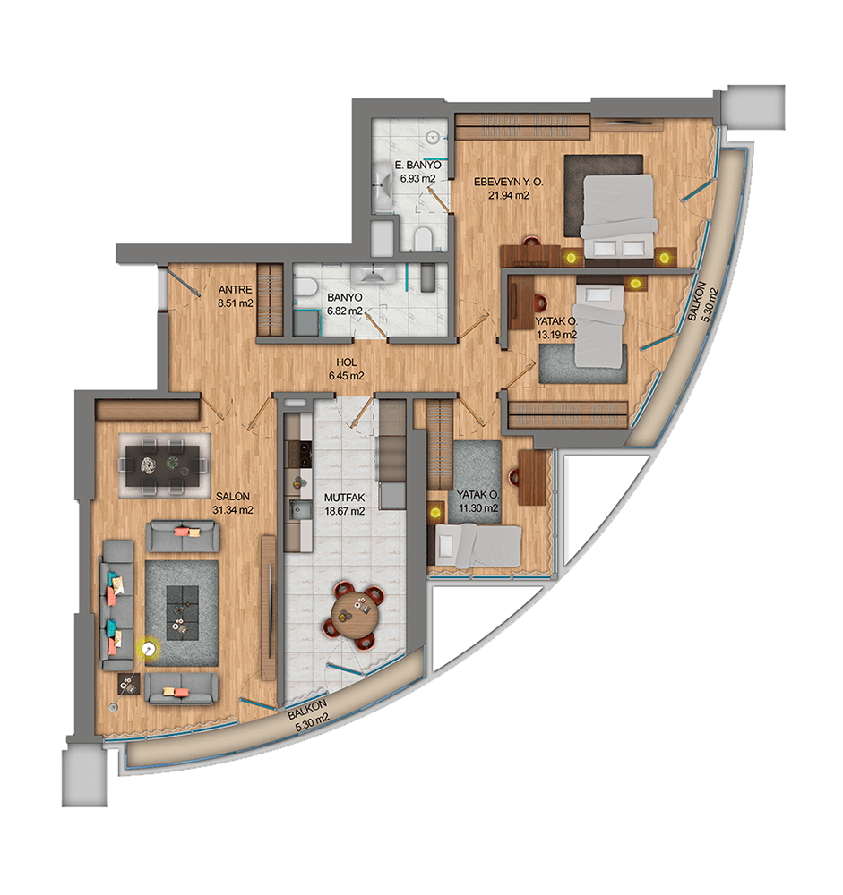 Fortis Sinanlı  3+1 Kat Planları