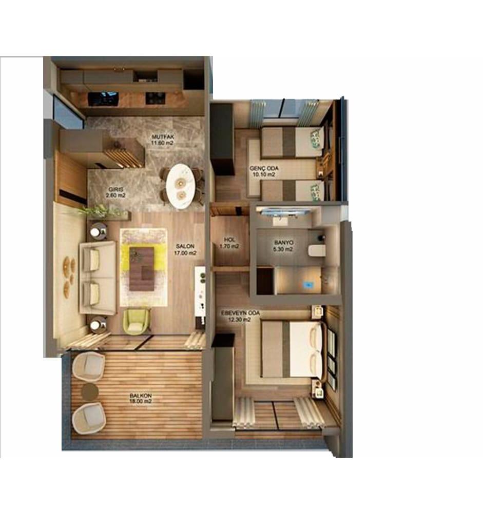 Frame Suites 2+1 Kat Planları