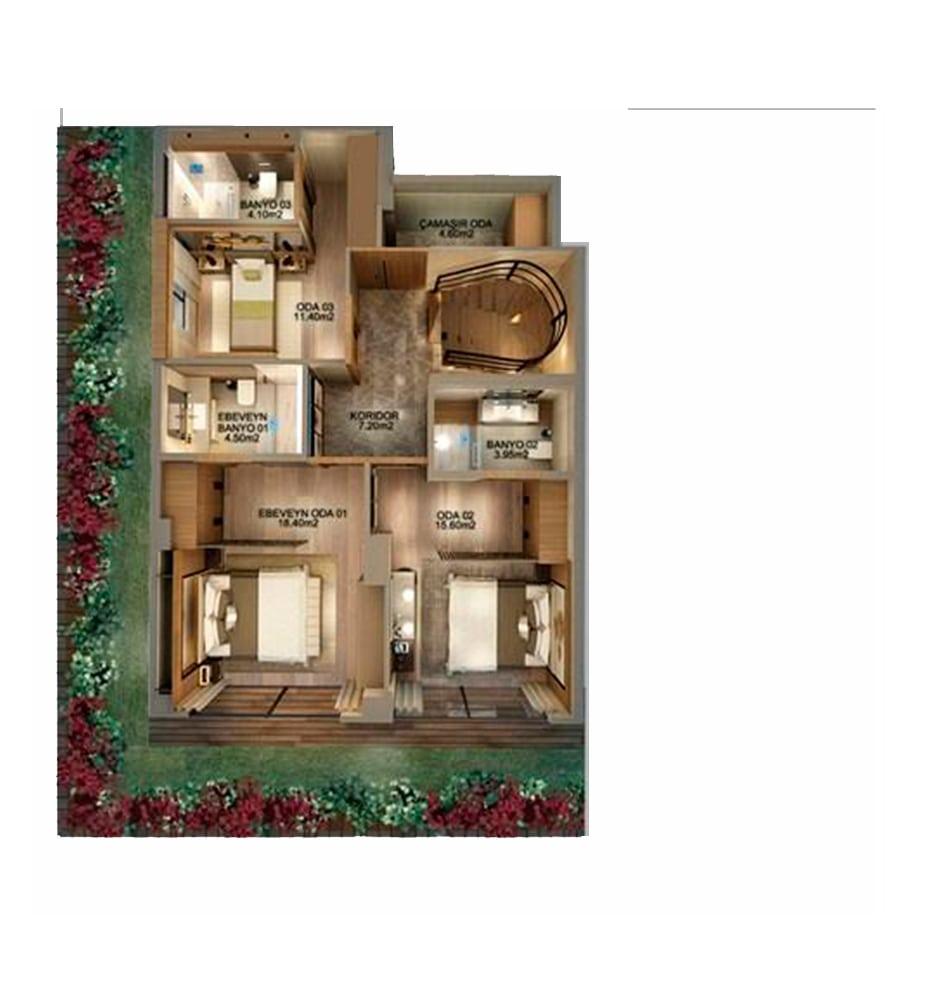Frame Suites 3+1 Kat Planları