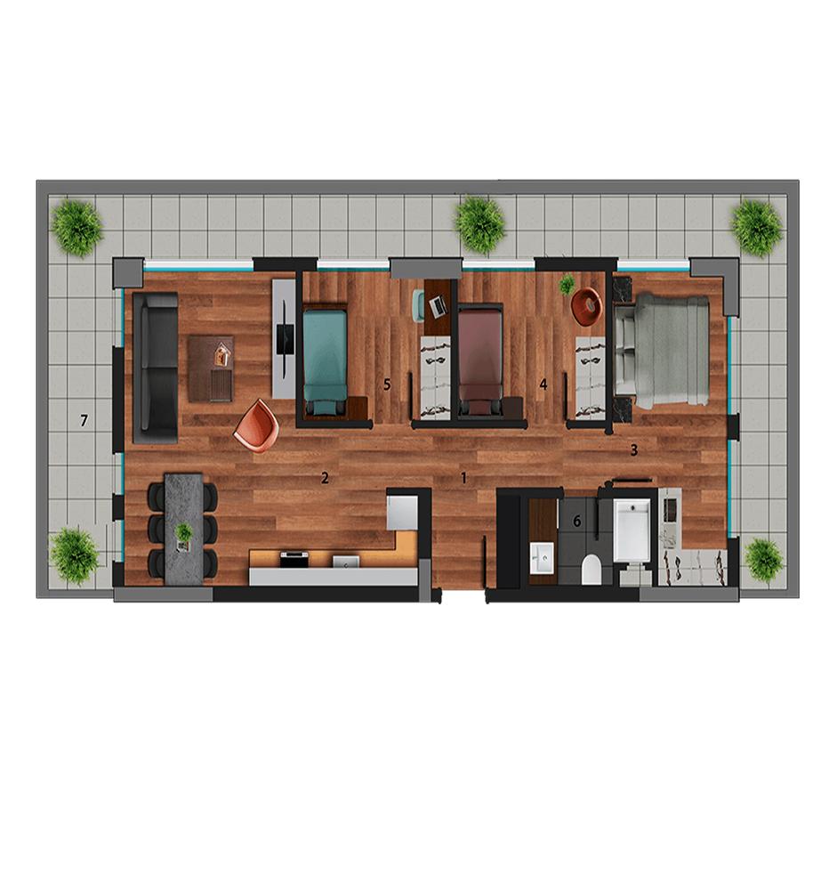Galata Rezidans 3+1 Kat Planları