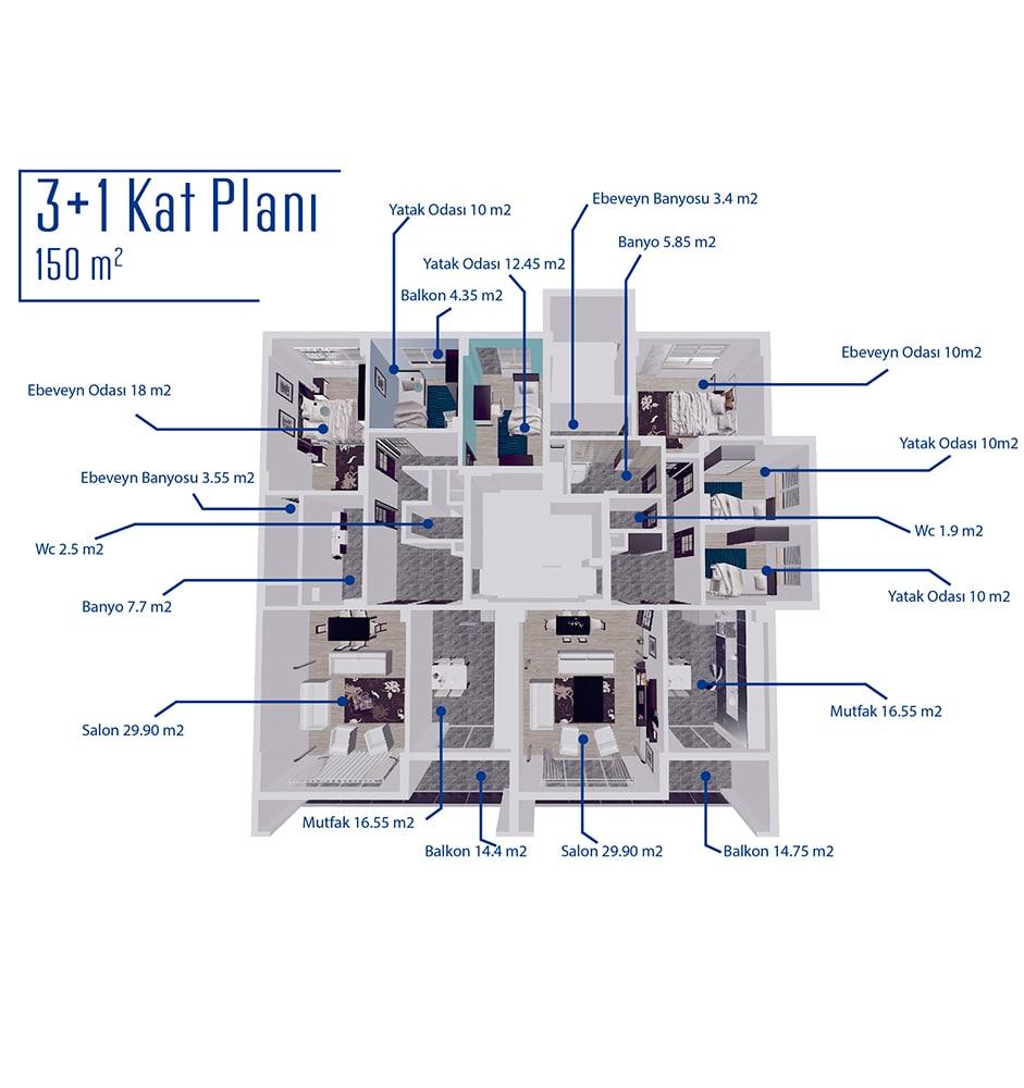 Gökyüzü Şelale Evleri 3+1 Kat Planları