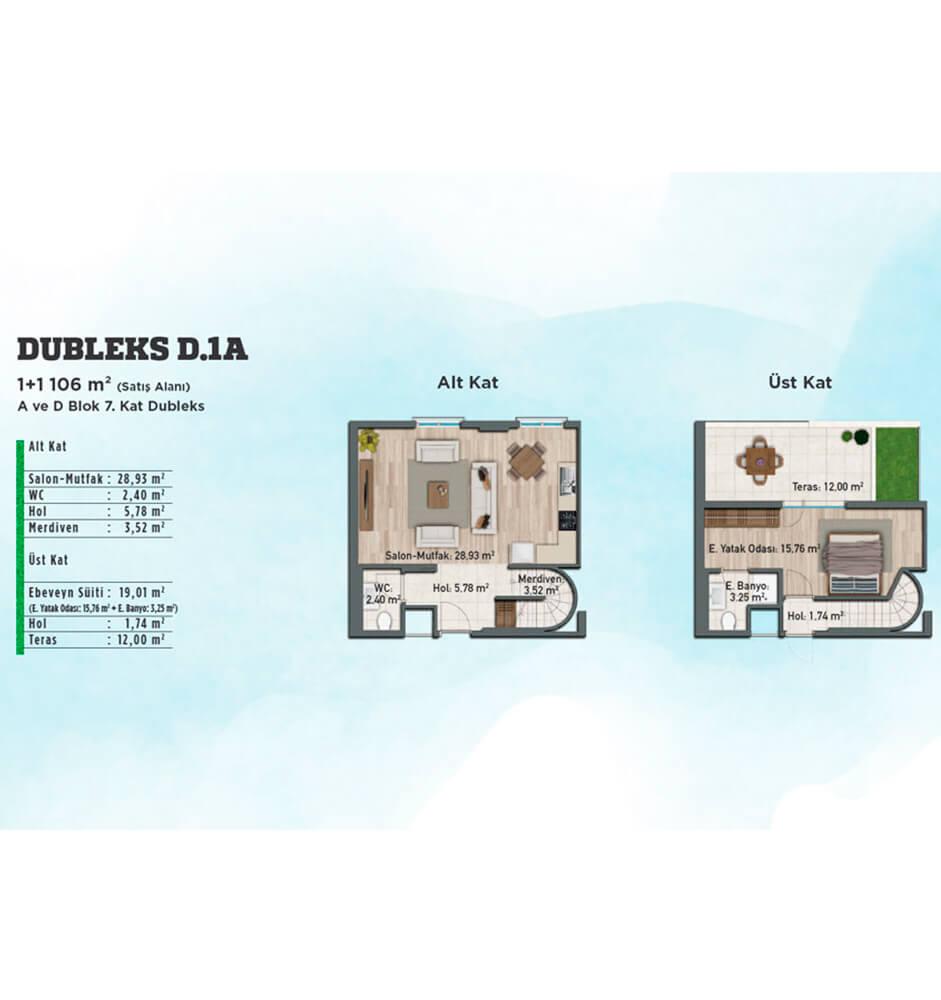 Gölbahçe Evleri 1+1  Dubleks Kat Planları