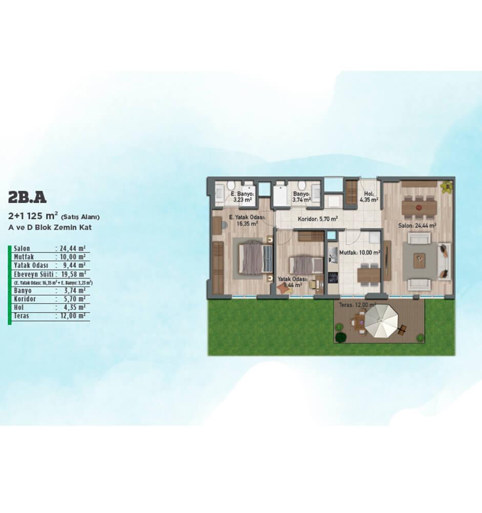 Gölbahçe Evleri 2+1 Kat Planları