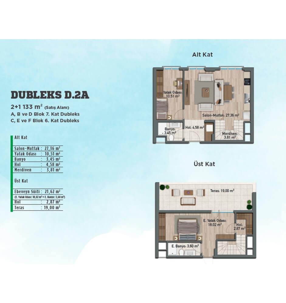 Gölbahçe Evleri 2+1 Dubleks Kat Planları