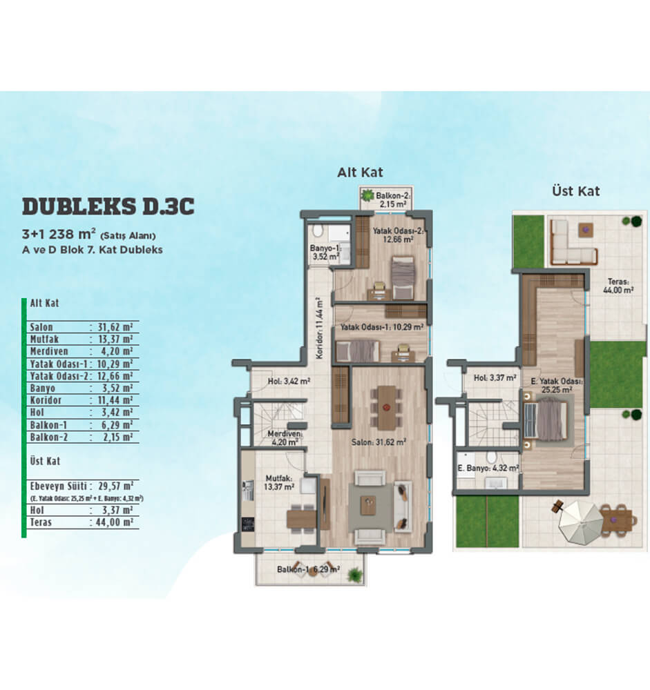 Gölbahçe Evleri 3+1 Dubleks Kat Planları