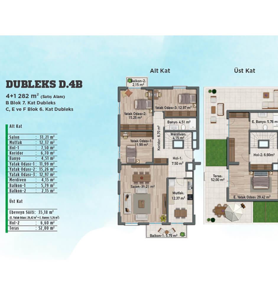 Gölbahçe Evleri 4+1 Dubleks Kat Planları