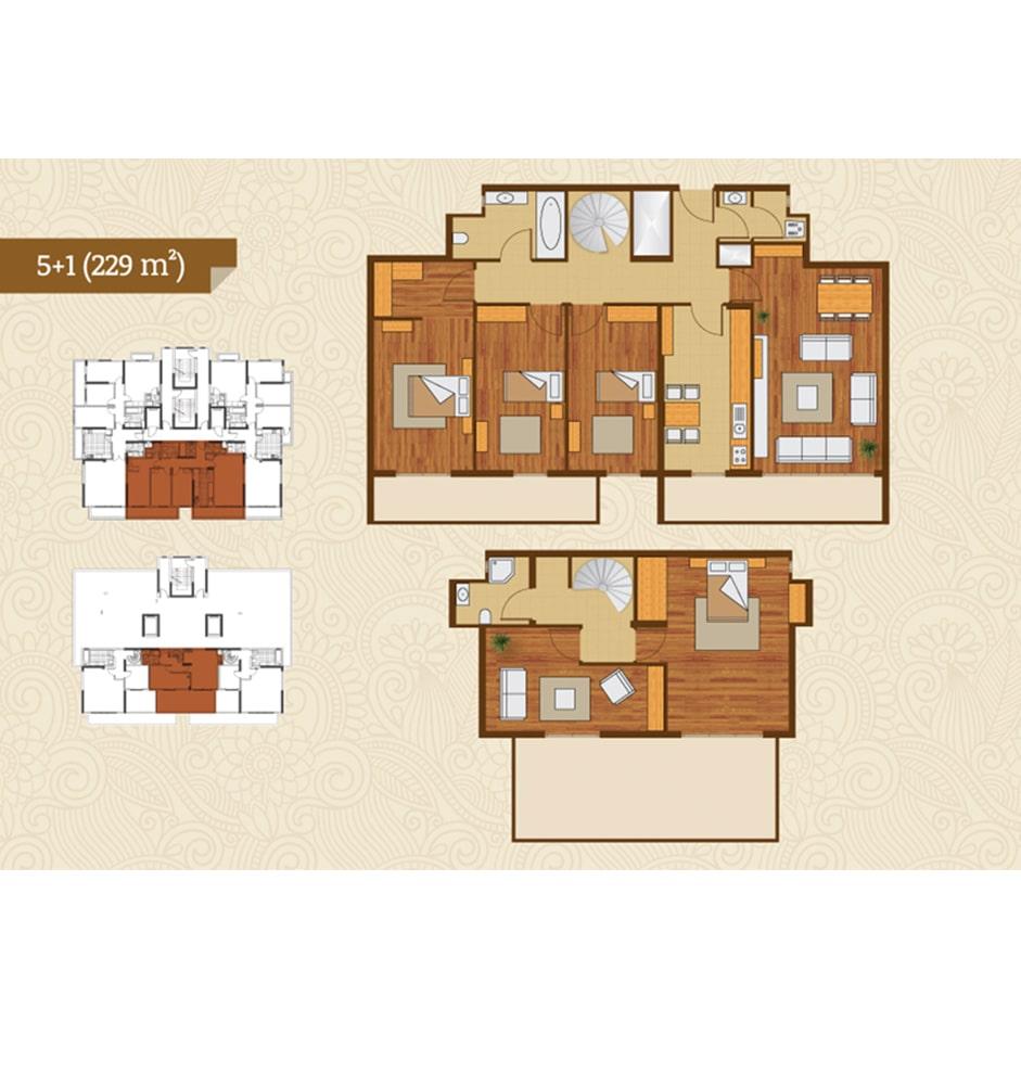Golden River Termalkent 5+1 Kat Planları