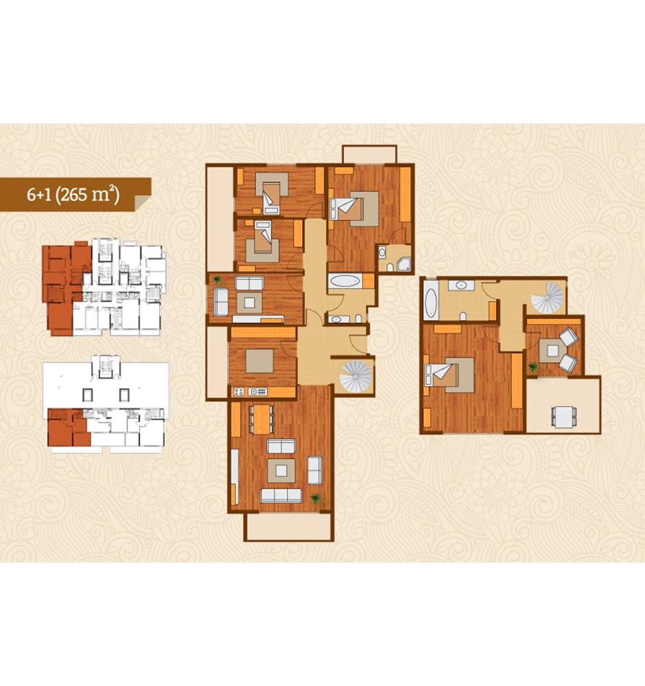 Golden River Termalkent 6+1 Kat Planları