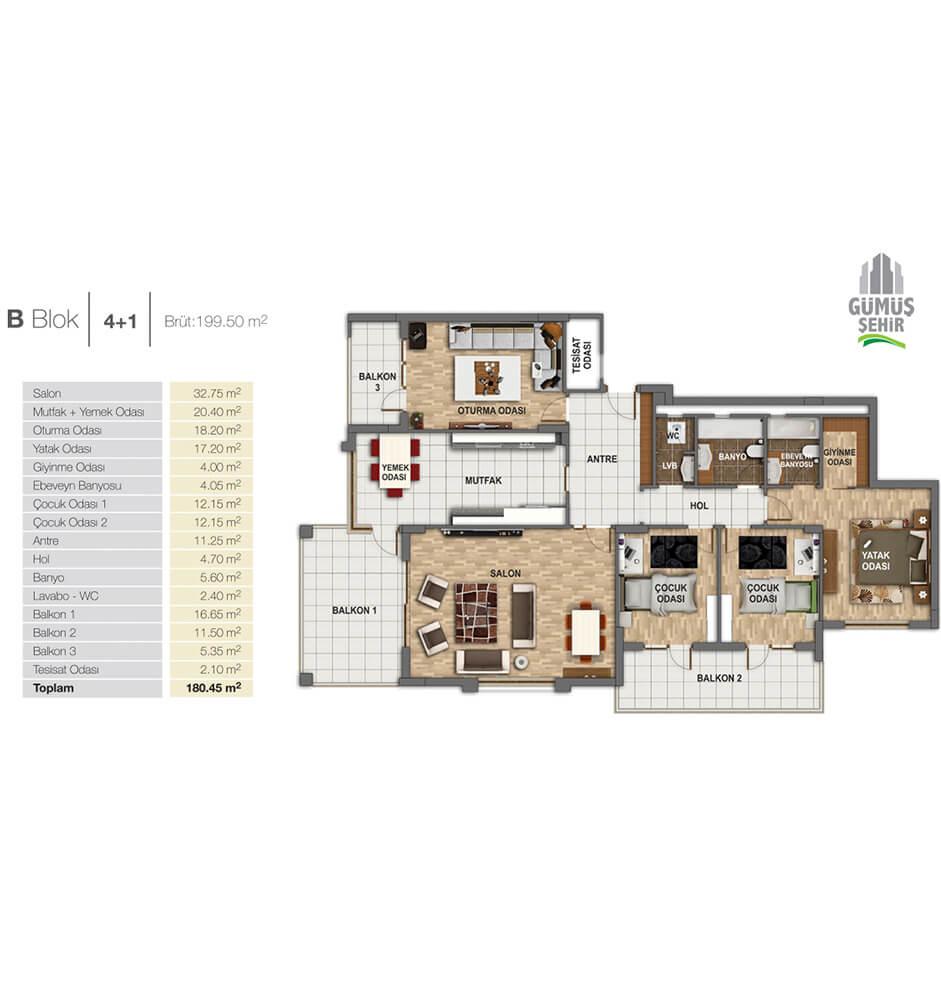 Gümüş Şehir Evleri 4+1 Kat Planları