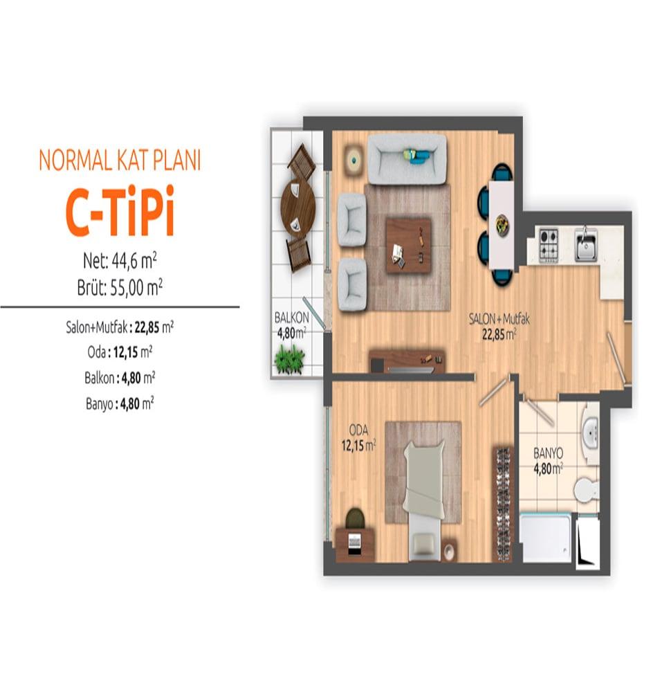 Huzurlu Kampüs Residence 1+1 Kat Planları