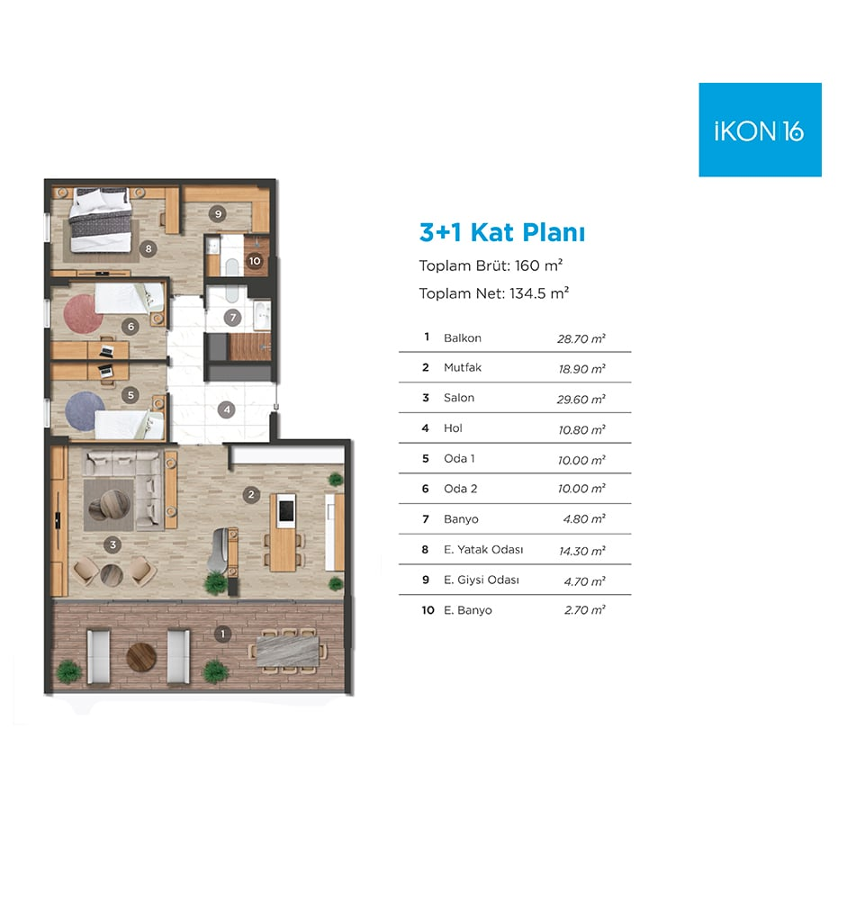 İKON16 3+1 Kat Planları