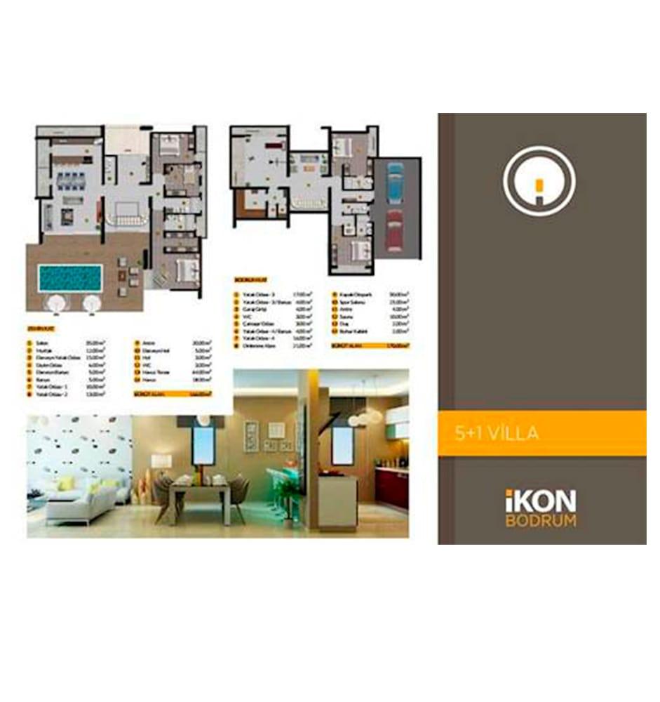 İkon Bodrum 5+1 Villa Kat Planları