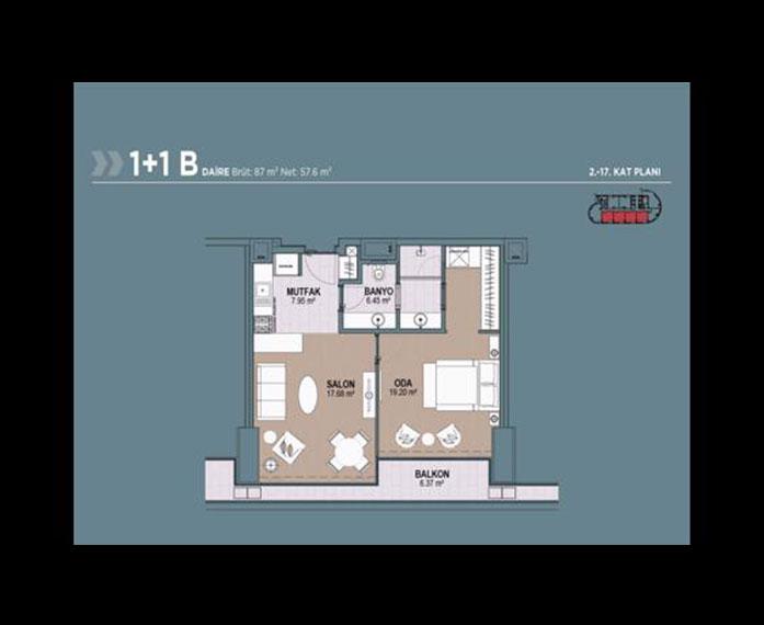 Polat Tower  1+1 Kat Planları