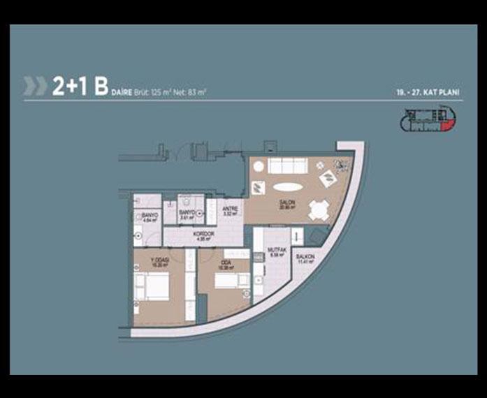 Polat Tower  2+1 Kat Planları