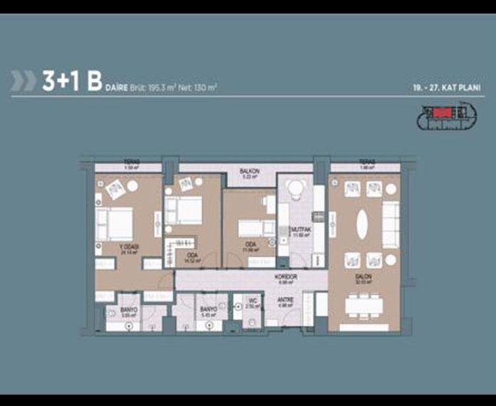 Polat Tower  3+1 Kat Planları