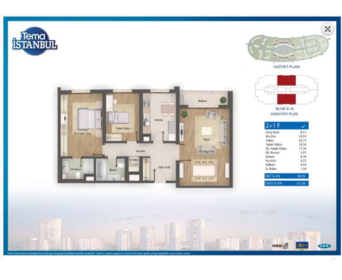Tema İstanbul  2+1 Kat Planları