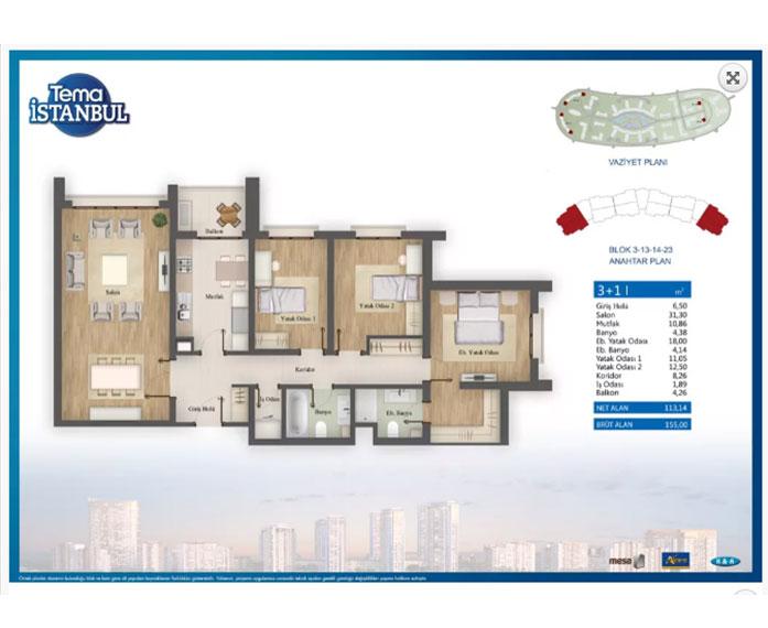 Tema İstanbul  3+1 Kat Planları