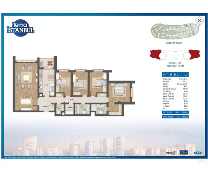 Tema İstanbul  4+1 Kat Planları