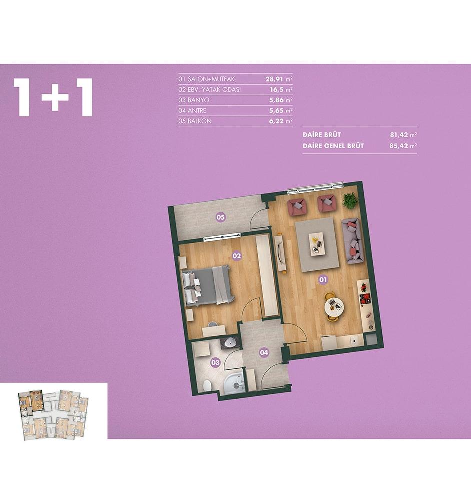 Kavanya Koru 1+1  Kat Planları